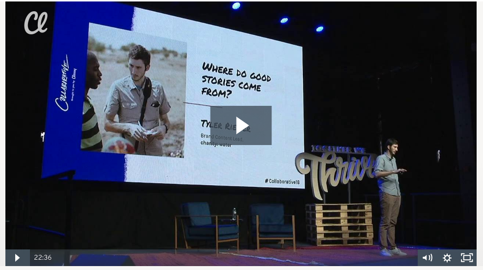 Charity: Water's Brand Content Lead shares storytelling tips on stage at the Collaborative