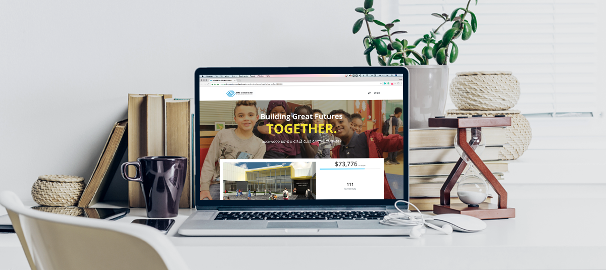 crowdfunding campaign landing page on a laptop screen