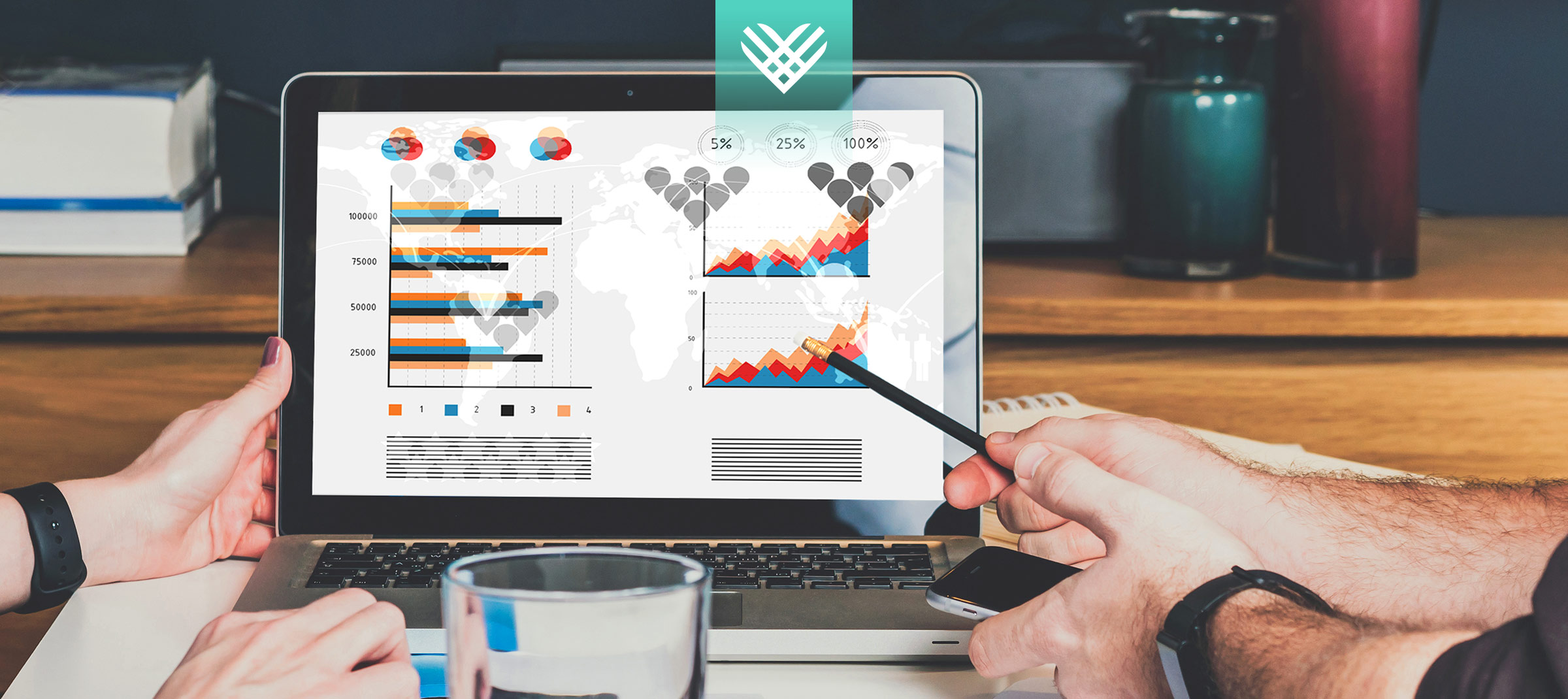 laptop with charts and data and the giving tuesday logo