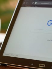 open laptop with google search homepage