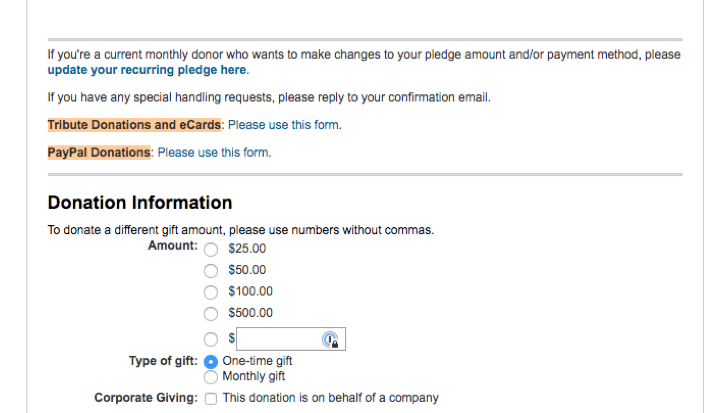 Screenshot of nonprofit fundraising appeal