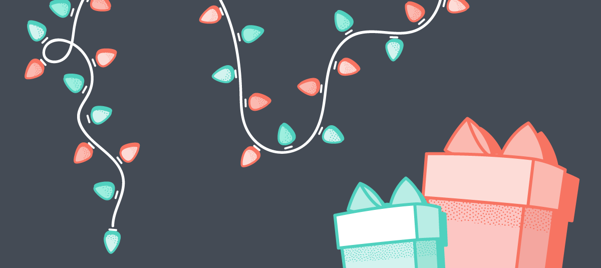 graphic of gift boxes and strings of holiday lights