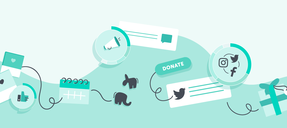 graphic showing political symbols, a megaphone, social media logos, and a donate button