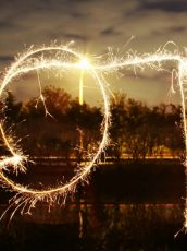 sparklers spelling out 2018 in the sky