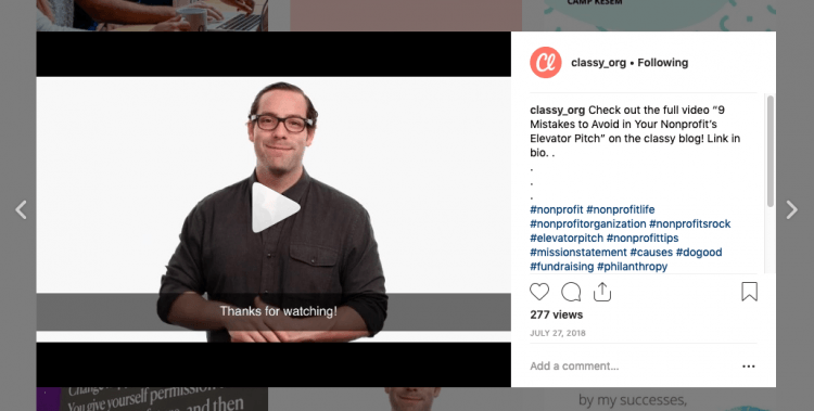 Classy.org Instagram post with the elevator pitch video