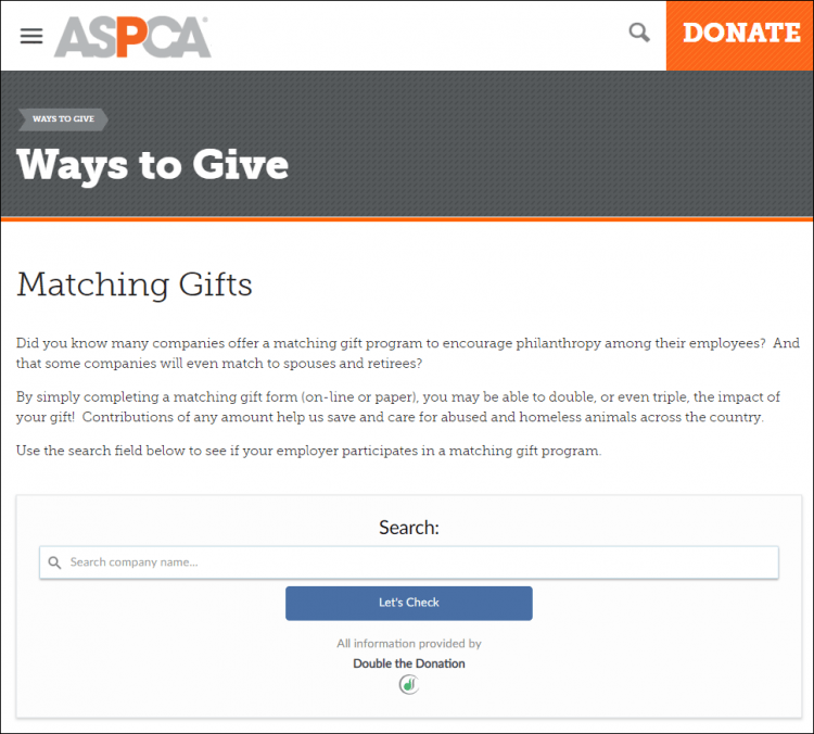 The ASPCA's matching gift search tool in action.
