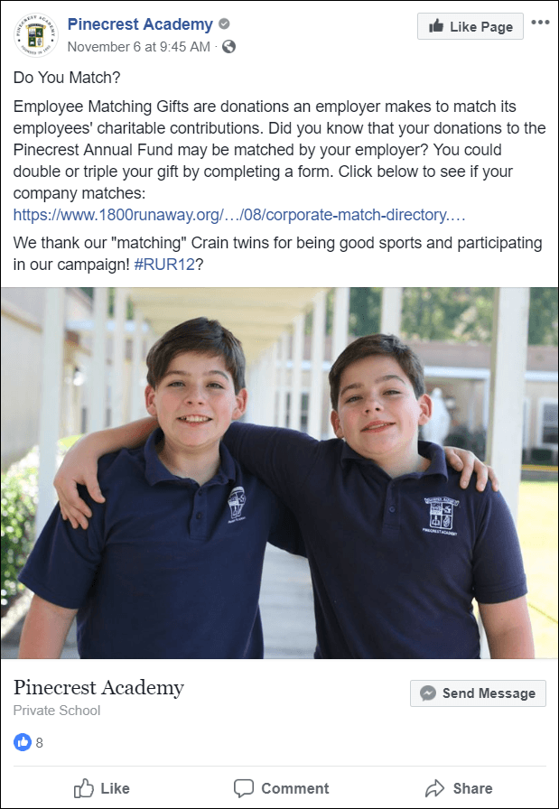 Facebook post about matching gifts from Pinecrest Academy.