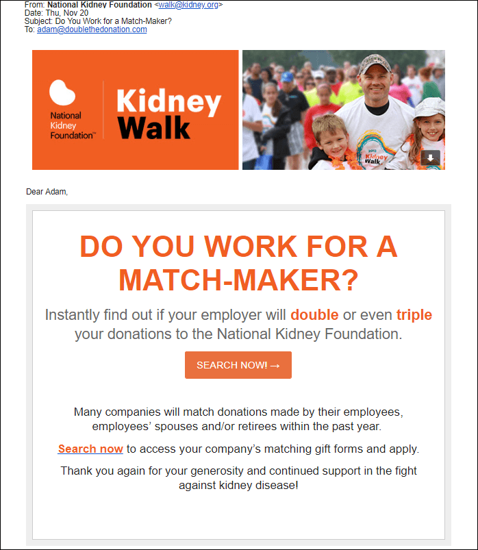 A matching gifts email campaign from the National Kidney Foundation.