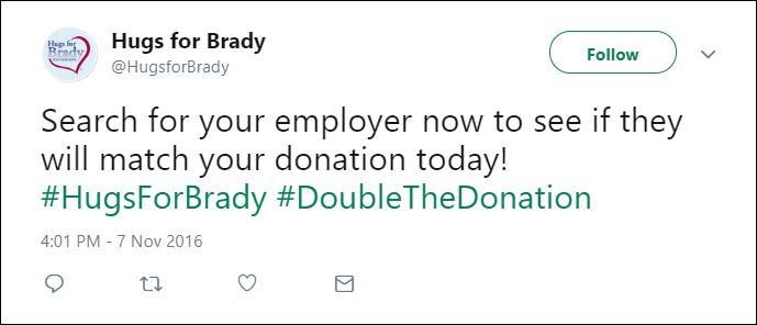 Tweet from the Hugs for Brady Foundation about matching gifts.