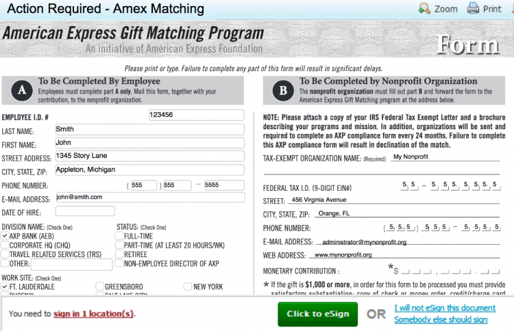 An example of American Express' matching gift program.