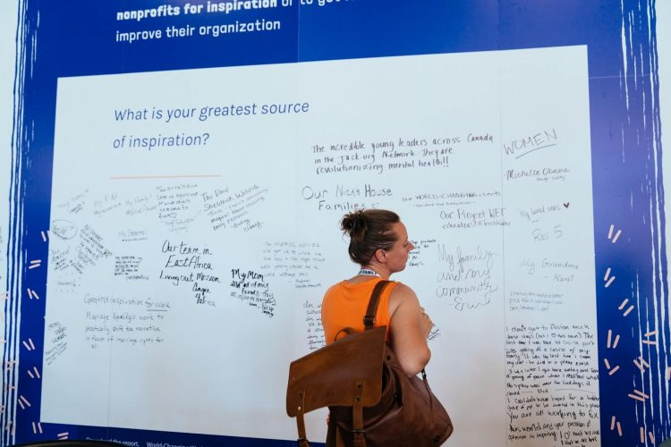 Woman writing on interactive wall at the Collaborative 2019