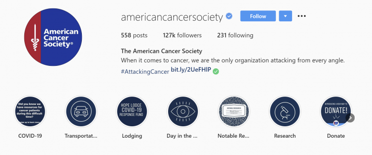 The American Cancer Society Instagram page showing how to drive user-generated content for your nonprofit.