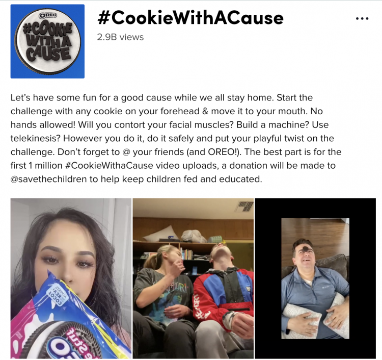A screenshot of the #CookieWithACause campaign hosted by Oreo on TikTok.