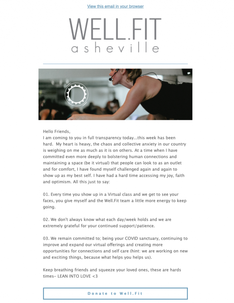email example from workout studio
