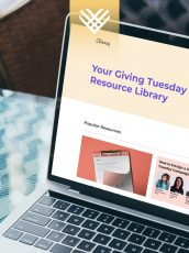 classy giving tuesday resource center on laptop screen