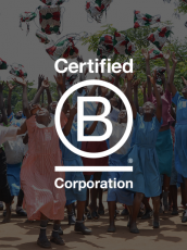 people celebrating, Certified B Corporation logo