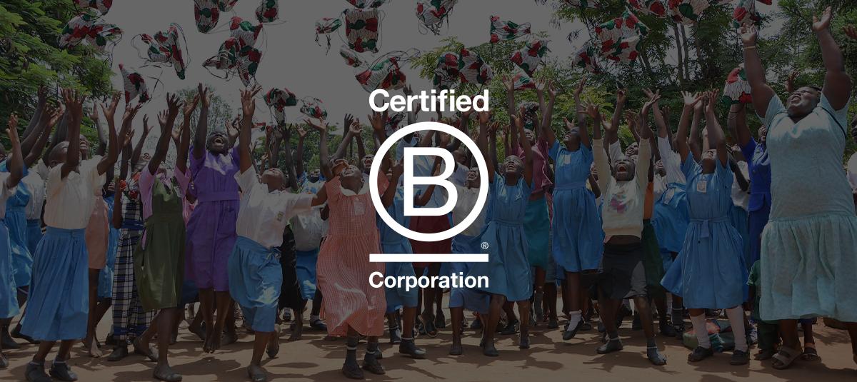 people celebrating, Certified B Corporation logo