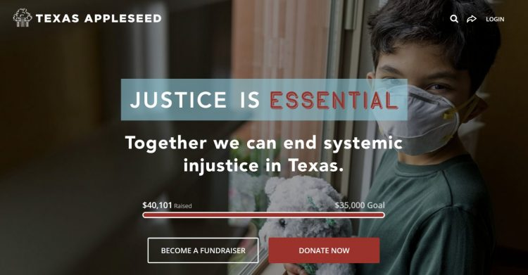 texas appleseed peer-to-peer campaign donation button