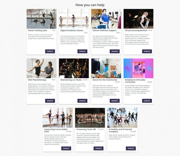 houston ballet crowdfunding campaign impact blocks