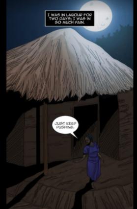 cartoon illustration of a woman in the dark