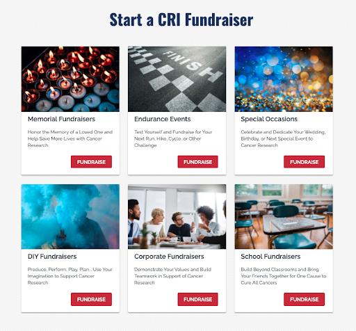 peer-to-peer fundraising landing page example