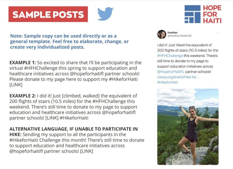 sample twitter posts in fundraisers toolkit