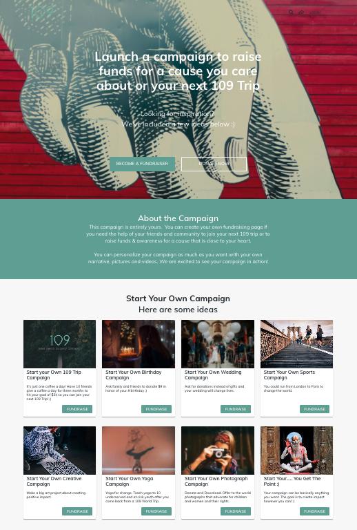 example of a DIY peer-to-peer fundraising landing page