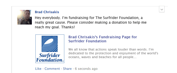 Image of Facebook post of person making a direct request for donations for social fundraising