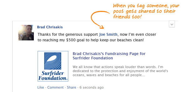 Image of person tagging and thanking donor in Facebook post for social fundraising