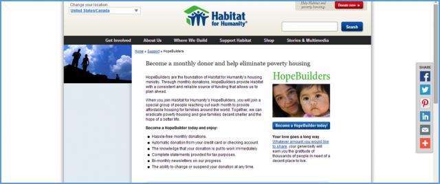 Habitat for Humaity Webpage
