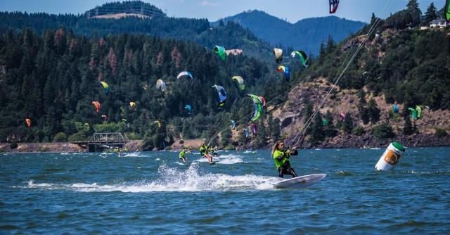 Windsurfers on Lake