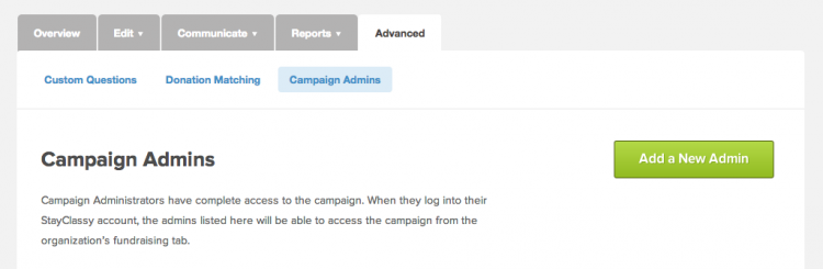 Adding a Campaign Admin with StayClassy