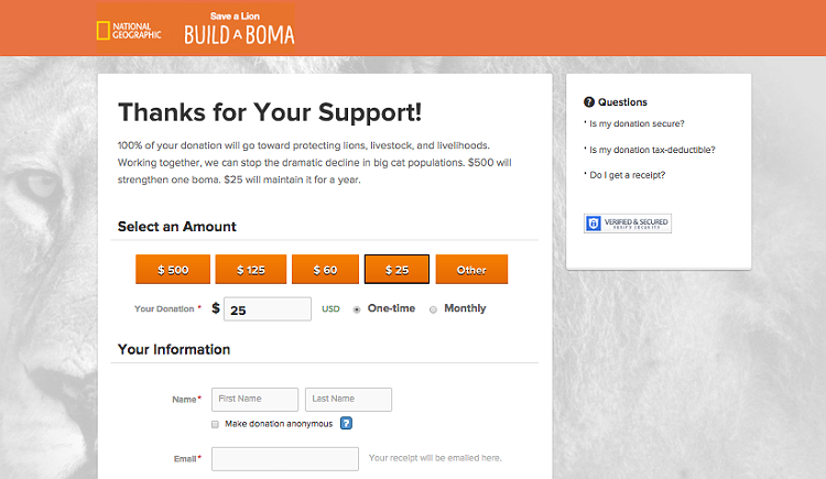 Build a Boma Donation Page