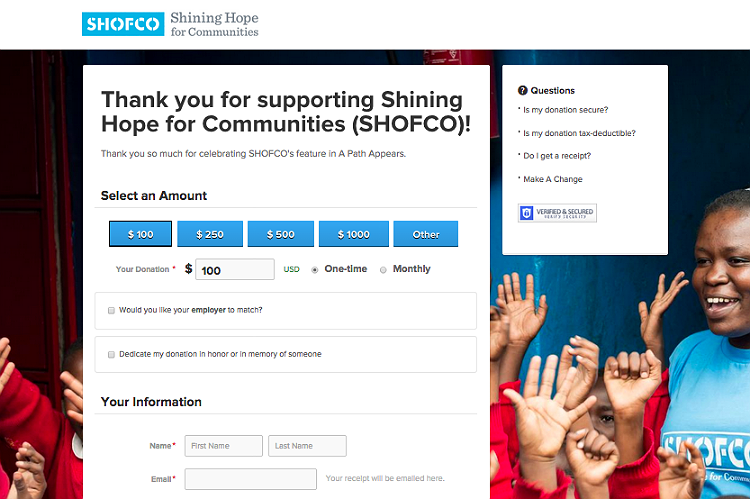 SHOFCO donation page