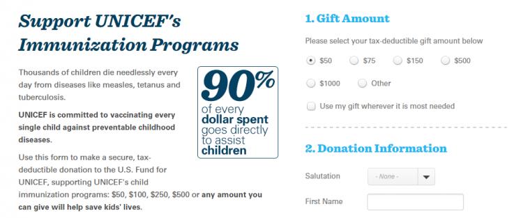 custom donation forms UNICEF