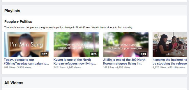 Liberty in North Korea Facebook Video Playlist