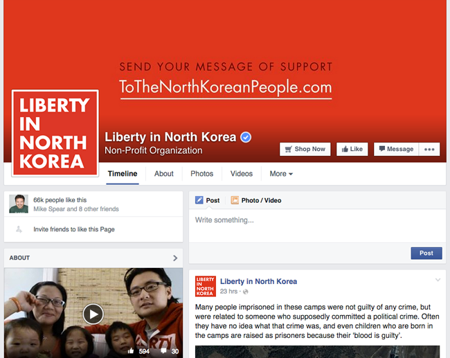 Liberty in North Korea Facebook Page