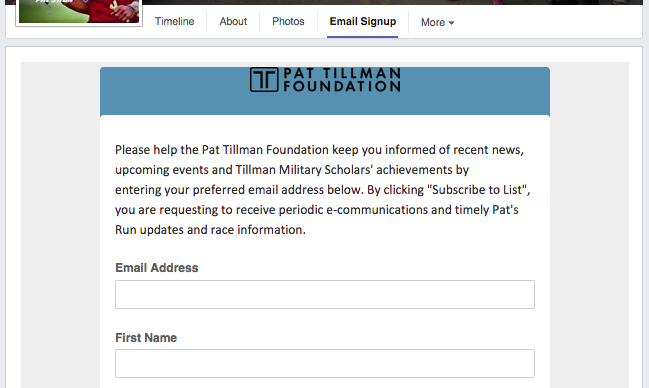Pat Tillman Foundation Facebook Email Signup