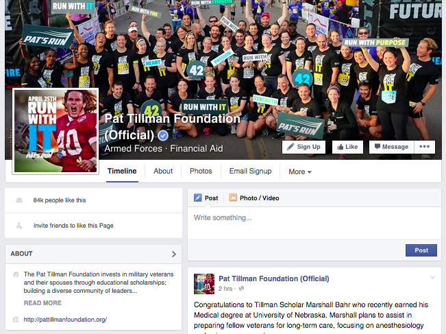 Pat Tillman Foundation Facebook Page