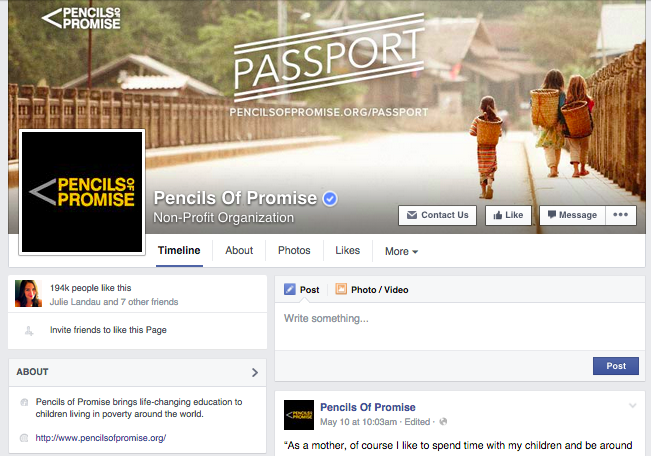 Pencils of Promise Facebook Page
