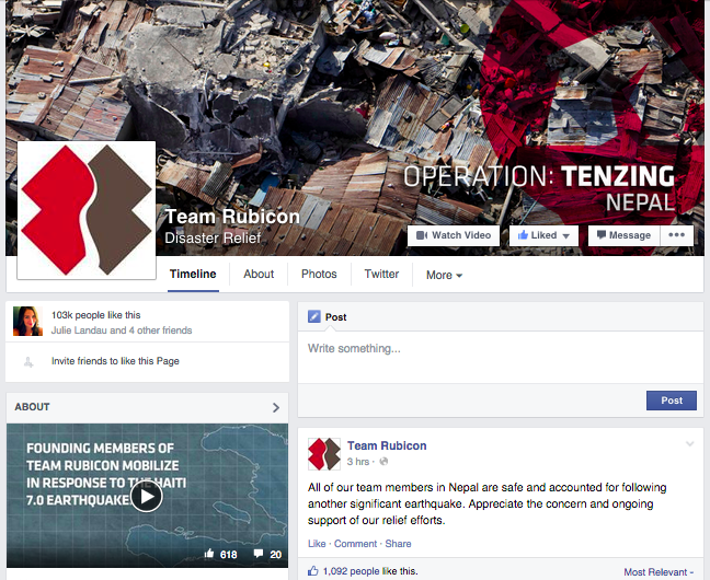 Team Rubicon Facebook Page