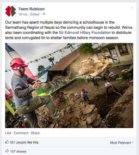 Team Rubicon Update