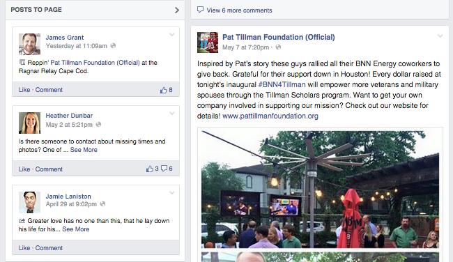 Pat Tillman Foundation Facebook Page Posts