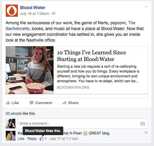 Blood:Water demonstrates the appreciation social media strategy by liking a comment made on their post.