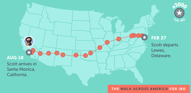 Walk across america Map