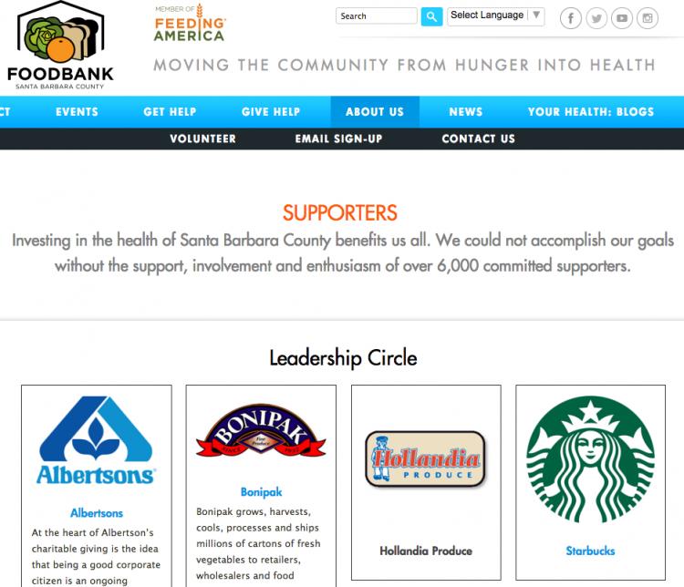 Food Bank Santa Barbara County website donor recognitionpage