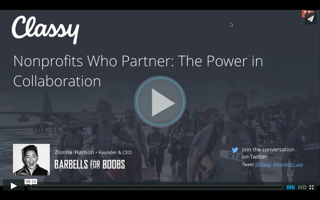 Nonprofits Who Partner, the Power of Collaboration's webinar title slide.
