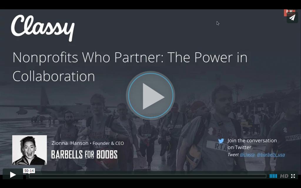 Nonprofits Who Partner, the Power of Collaboration's webinar title slide.
