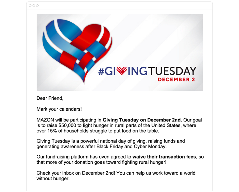 Dear Friend, Mark your calendars! MAZON will be participating in Giving Tuesday on December 2nd. Our goal is to raise $50,000 to fight hunger in rural parts of the United States, where over 15% of households struggle to put food on the table.