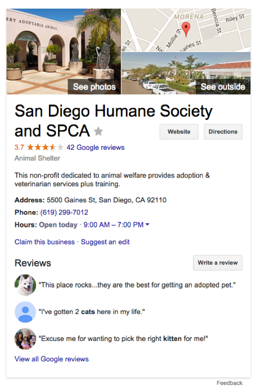 San Diego Human Society and SPCA Google Plus Profile